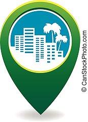 logotipo, cidade, silueta