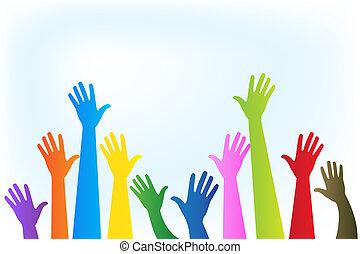 logotipo, cima, coloridos, mãos