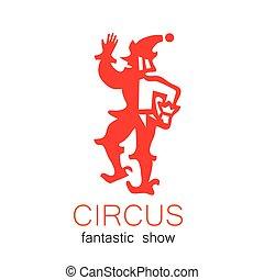 logotipo, circo, retro, mostrar