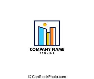 logotipo, città, vettore, quadrato, icona