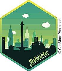 logotipo, ciudad, yakarta