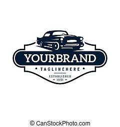 logotipo, clássicas, ilustração, modelo, car