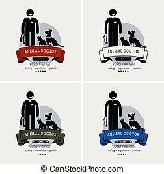 logotipo, clínica, veterinário, design.