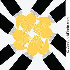 logotipo, clapping, vetorial, trabalho equipe, mãos