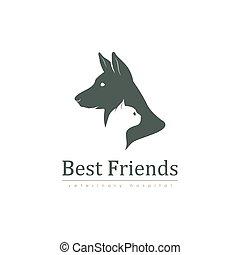 logotipo, clinica, veterinario, sagoma