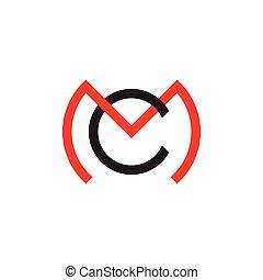 logotipo, cm, vector, carta, ligado, círculo, línea ...