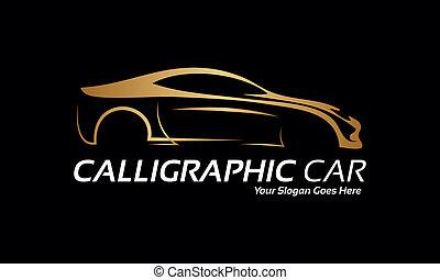 logotipo, coche, dorado
