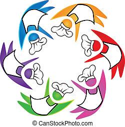 logotipo, cocinas, trabajo en equipo, icono