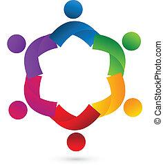 logotipo, colaboração, trabalho equipe, app