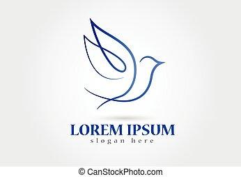 logotipo, colomba, uccello