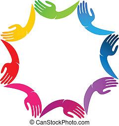 logotipo, colores, diseño, vívido, manos