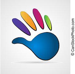 logotipo, colores, mano, vívido