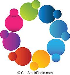 logotipo, colores, trabajo en equipo, vívido