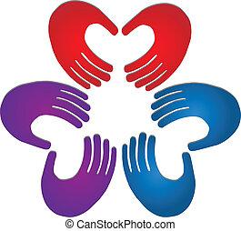 logotipo, colori, lavoro squadra, mani