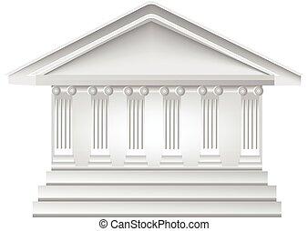 logotipo, columnas, edificio
