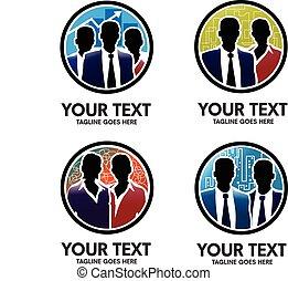 logotipo, comércio pessoas, silhouete