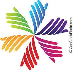 logotipo, compañía, vector, voluntario, manos