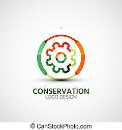 logotipo, companhia, conceito, engrenagem, negócio