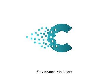 logotipo, companhia, gasto, pixel, c, incorporado, letra ...