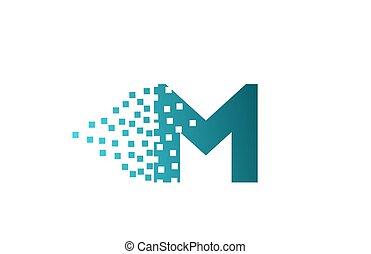 logotipo, companhia, gasto, pixel, m, incorporado, letra ...