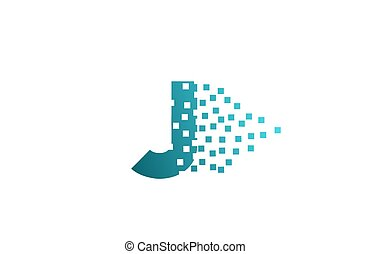 logotipo, companhia, pixel, gasto, j, incorporado, letra ...