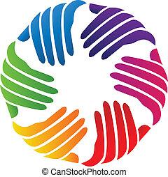 logotipo, companhia, vetorial, mãos, caridade