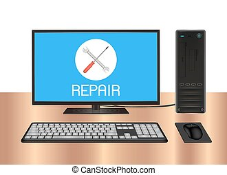 logotipo, computadora, Escritorio, reparación