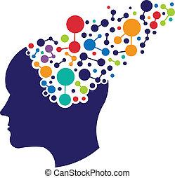 logotipo, conceito, networking, cérebro