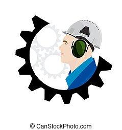 logotipo, conceito, trabalhador