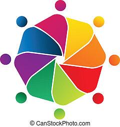 logotipo, conceito, trabalho equipe, comunidade