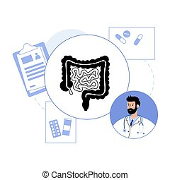 logotipo, concepto, intestino