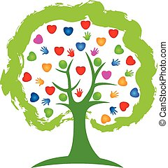 logotipo, concetto, albero, cuori