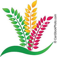 logotipo, concetto, ecologia, mette foglie