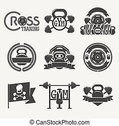 logotipo, condición física, gimnasio, cruz