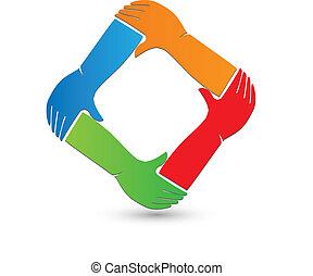 logotipo, conexão, mãos