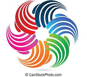 logotipo, conexão, mãos, swooshes
