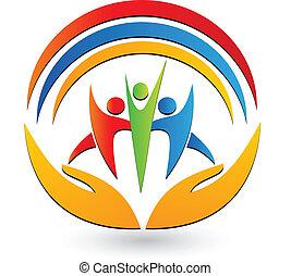 logotipo, conexão, trabalho equipe, mãos