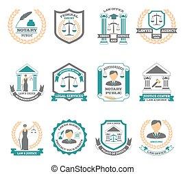 logotipo, conjunto, abogado
