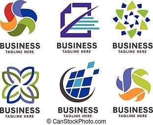 logotipo, conjunto, empresa / negocio