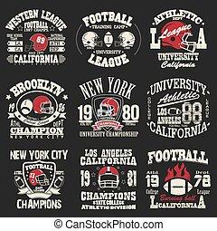 logotipo, conjunto, fútbol