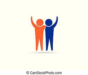 logotipo, connection., amigos, pessoas, desenho, sócios, feliz, business.