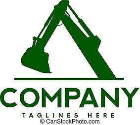 logotipo, construção, escavadores, maquinaria
