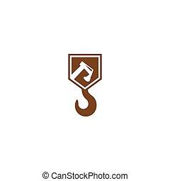 logotipo, construção, vetorial, desenho, modelo