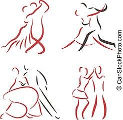 logotipo, coppia, set., ballo
