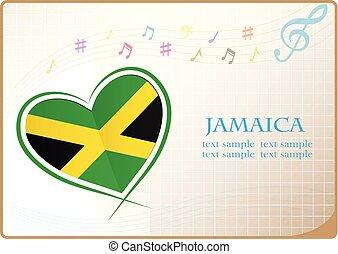 logotipo, coração, bandeira, feito, jamaica