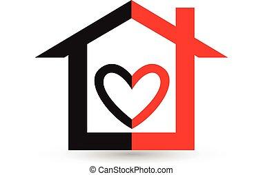 logotipo, coração, casa, vetorial