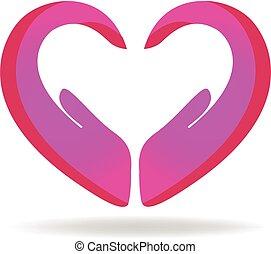 logotipo, coração, fazer amor, mãos