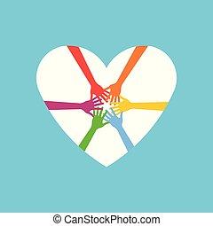 logotipo, coração, junto., ilustração, mãos