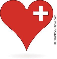 logotipo, coração, médico