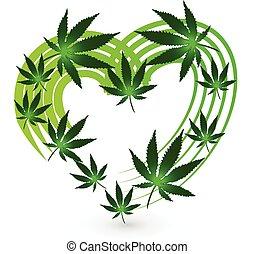 logotipo, coração, planta, folha, cannabis